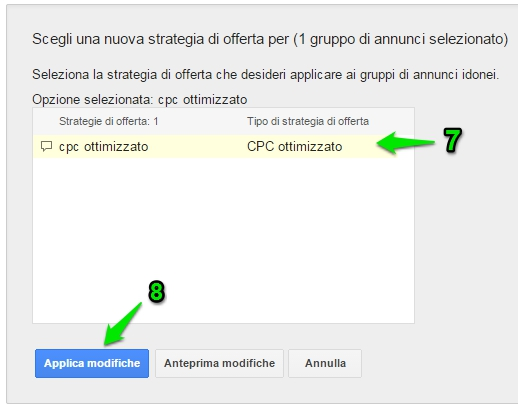 applica strategia di offerta