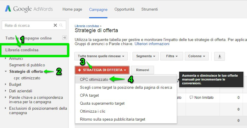 come impostare le strategie di offerta in adwords